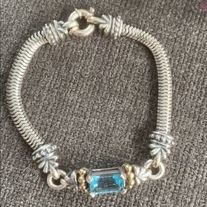 LAGOS Blue Topaz Bracelet in Silver w gold accents